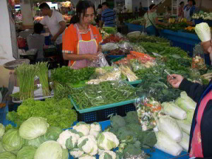 Phitsanulok market vegetables cauliflowers broccoli cabbage and