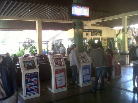 Tiger Kingdom ticket vending machines at the lobby