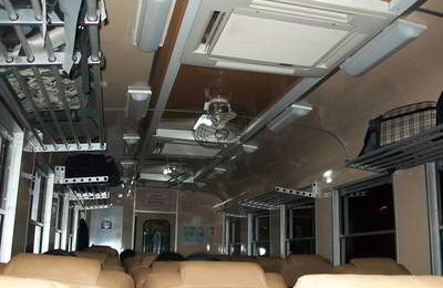 second class coach on a train in Thailand. this one was air conditioned chair car