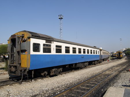 Thailand trains Third class railway car at Hua Lampong station in Bangkok, Thailand
