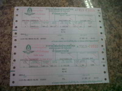 train journey in Thailand - Train tickets picture