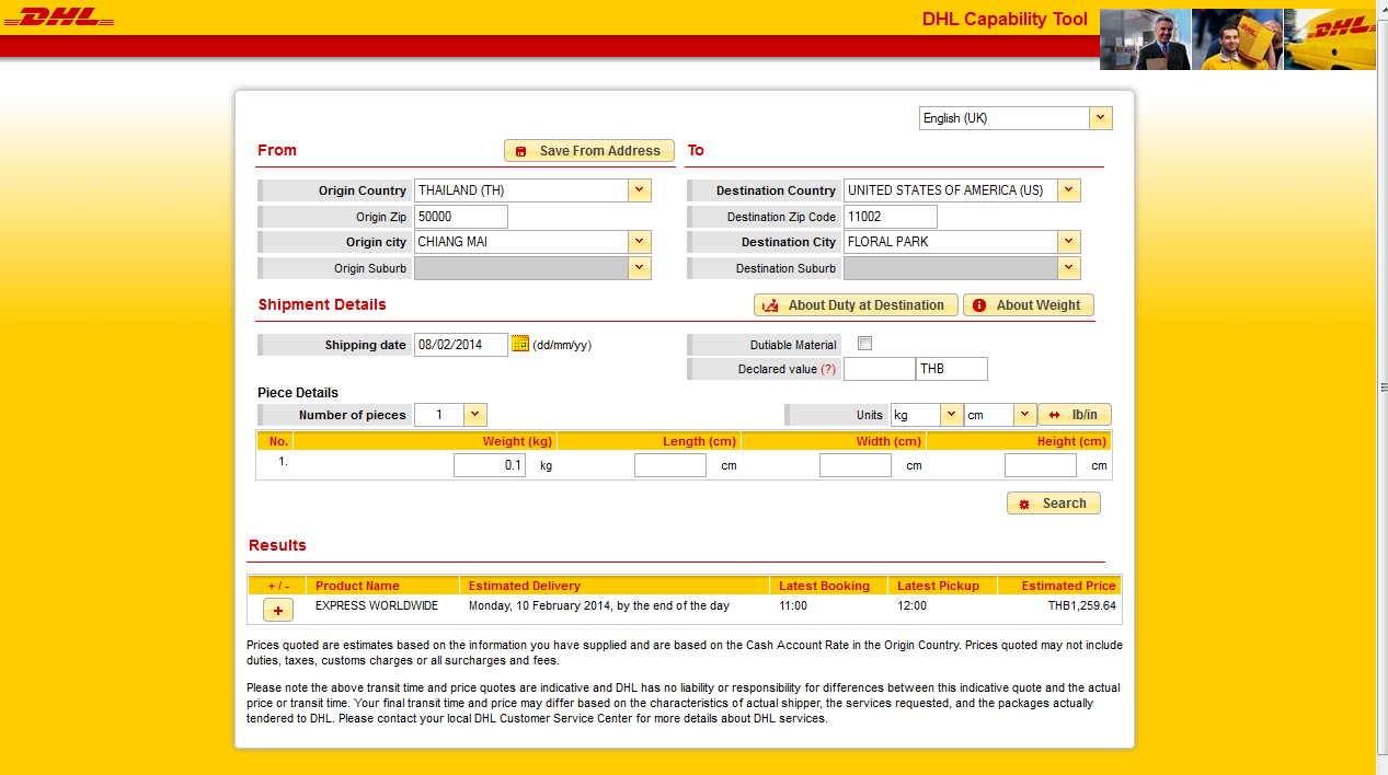 DHL pricing in Chiangmai