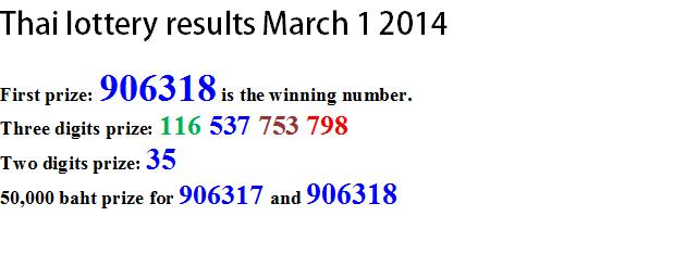 Thai lottery results march 1 2014