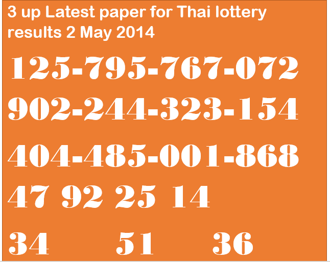 Thailand Lottrey Results 2 May 2014 Papers Tips Prize Bond Guess Paper