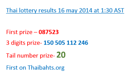 Thai lottery results 16 may 2014 announced