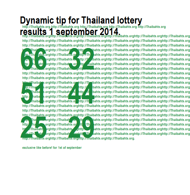 Thai lottery results 1 september 2014 dynamic tip