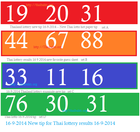 16-9-2014 New Tip for Thai lottery results 16-9-2014