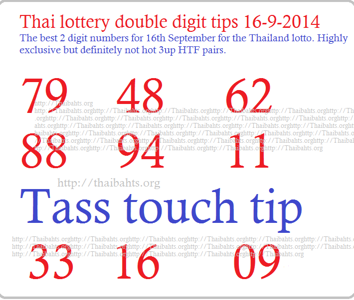 Thailand lottery 16 September 2014 new double digit tip