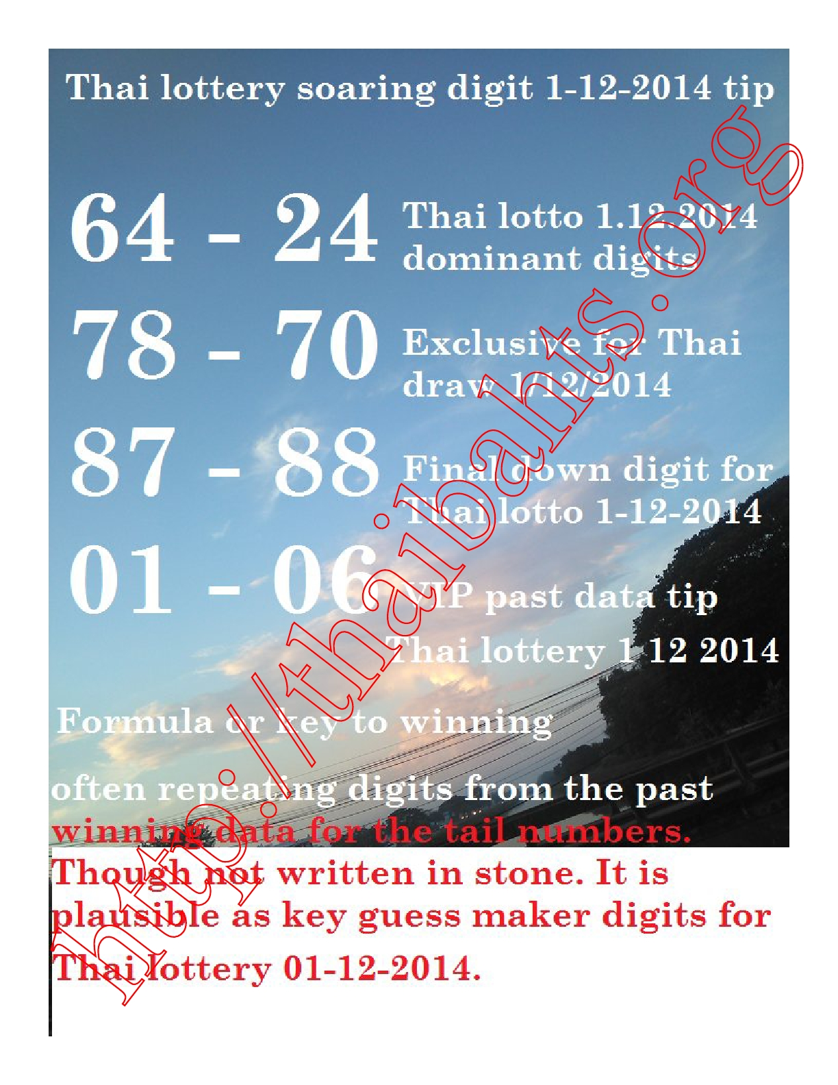Thai lotto soaring digit tips 1-12-2014