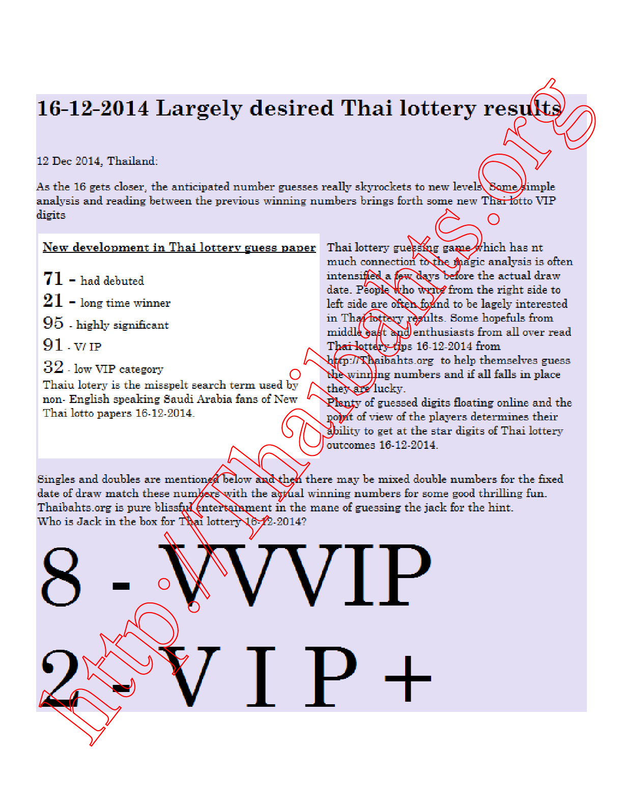 New Thai lottery article for 16-12-2014 results good reviews