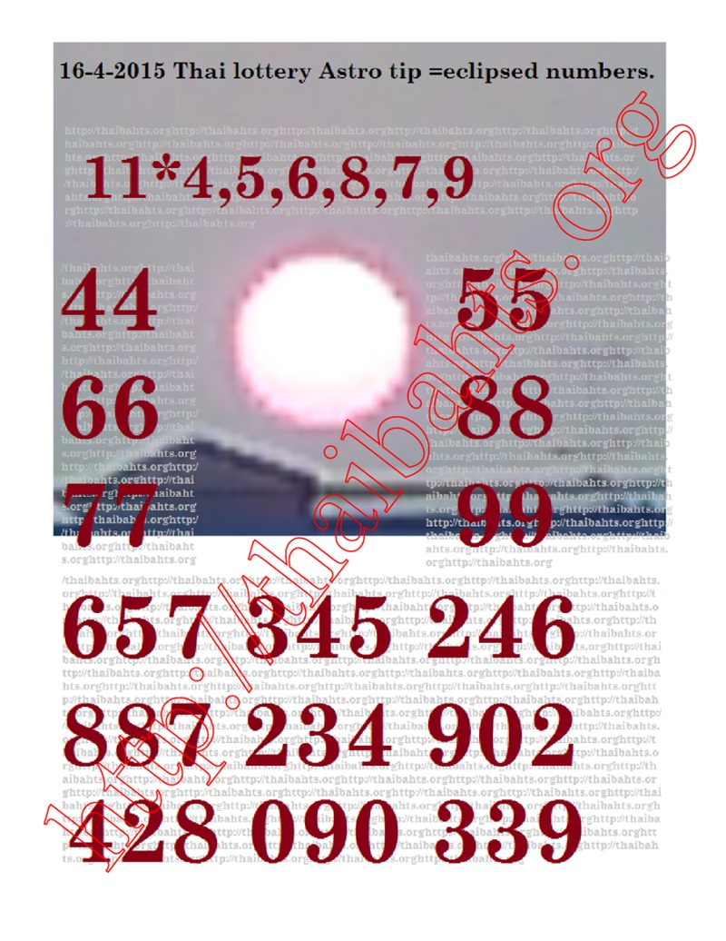 Thai lottery 16-4-2015 astro tips for the April 16th results.