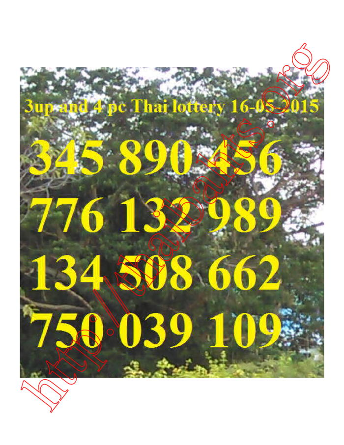 3up and 4pc Thai lottery results 16-5-2015