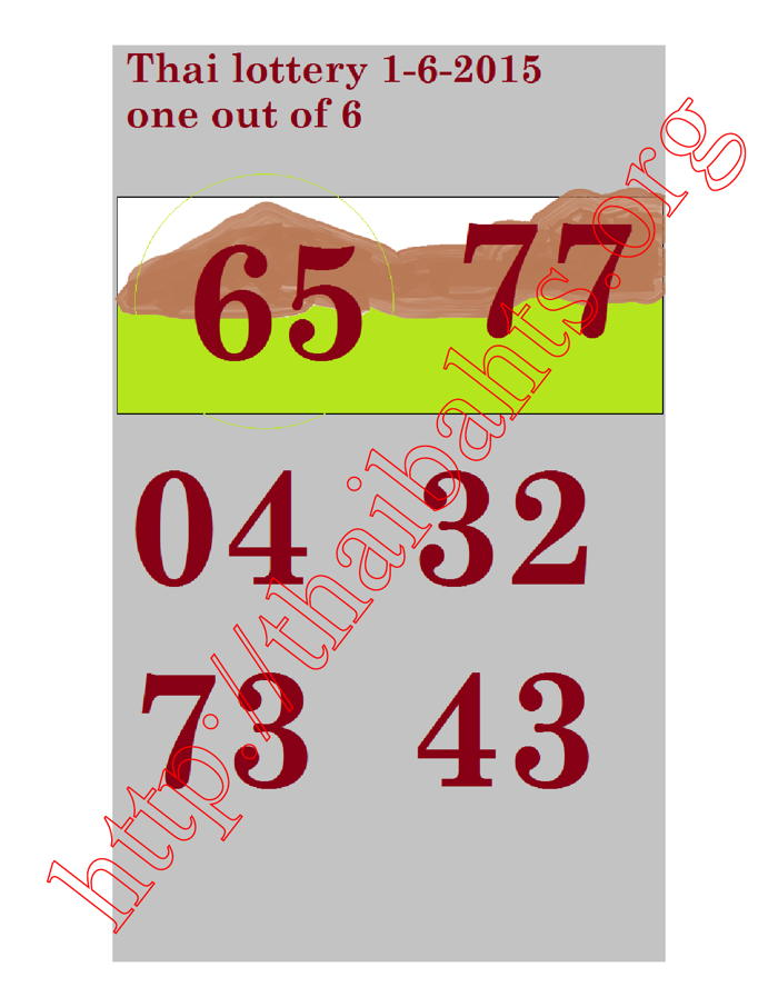 one out of six thai lottery 1-6-2015