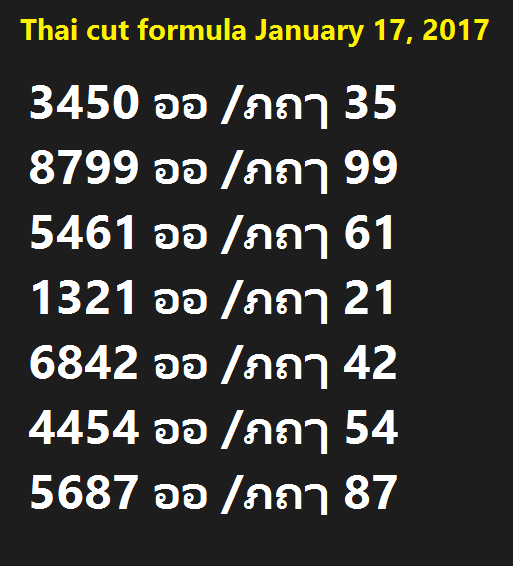 Thai cut formula 17 january 2017
